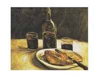 Still Life with Bottle, Two Glasses, Cheese and Bread Fine Art Print
