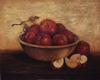Apples in Wood Bowl Framed Print