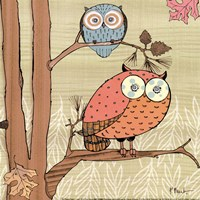 Pastel Owls I - mini Fine Art Print
