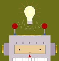 "Peek-A-Boo Robot by Yuko Lau - 12"" x 12"""