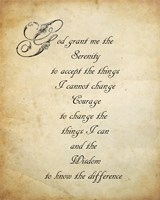Serenity Prayer - quote Fine Art Print