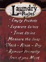 "Laundry Rules - Red by Linda Spivey - 12"" x 16"""