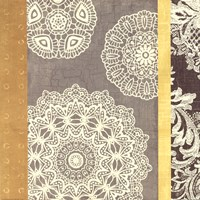 "Contemporary Lace II - Yellow Grey by Moira Hershey - 18"" x 18"" - $13.99"