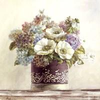 Anemones in Aubergine Hatbox Fine Art Print