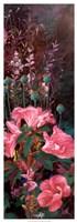"""Pink Azalea Garden II by Li Bo - 13"""" x 37"""""""