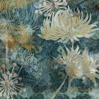 Navy Chrysanthemums I Fine Art Print