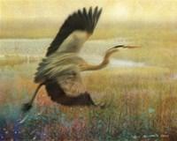 Foggy Heron I Fine Art Print