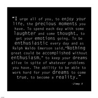 Be Enthusiastic, Jimmy V Quote Fine Art Print