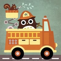 Owl in Firetruck and Squirrel Fine Art Print