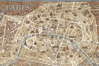 Monuments of Paris Map - Blue Fine Art Print