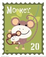 Animal Stamps - Monkey Fine Art Print