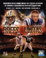 "Drew Brees breaks Johnny Unitas' half-century-old record October 7, 2012, 2012 - 8"" x 10"", FulcrumGallery.com brand"