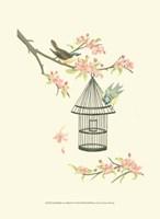 Small Birds on a Branch I Fine Art Print