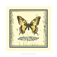 Butterfly and Wildflowers I Framed Print
