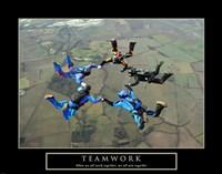 Teamwork-Skydivers II Fine Art Print