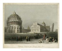 "Baptistry, Cathedral &Leaning Tower by W. H. Bartlett - 22"" x 18"""