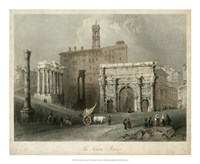 "The Forum- Rome, Italy by W. H. Bartlett - 22"" x 18"""