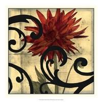 "Dahlias & Scrolls II by Jennifer Goldberger - 19"" x 19"" - $24.99"