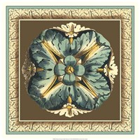 """Printed Chocolate & Blue Rosette I by Vision Studio - 20"""" x 20"""""""