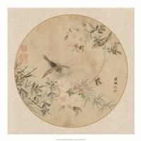 "Oriental Bird Silk II - 20"" x 20"", FulcrumGallery.com brand"
