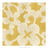 Suzani Silhouette in Yellow II Framed Print