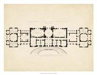 Antique Building Plan III Fine Art Print
