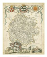 Map of Herefordshire Fine Art Print
