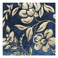 Indigo and Cream Brocade I Fine Art Print