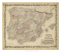 Johnson's Map of Spain & Portugal Fine Art Print