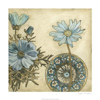 """Blue & Taupe Blooms I by Megan Meagher - 24"""" x 24"""""""