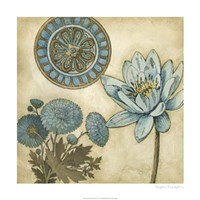 """Blue & Taupe Blooms II by Megan Meagher - 24"""" x 24"""""""