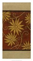 """Gold Daisies on Mahogany I by Norman Wyatt Jr. - 14"""" x 26"""""""