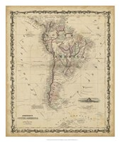 Johnson's Map of South America Fine Art Print