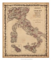 Johnson's Map of Italy Fine Art Print