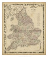 Johnson's Map of England & Wales Fine Art Print