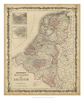 Johnson's Map of Holland & Belgium Fine Art Print