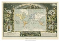 "1885 Planisphere of the World, 1885 - 38"" x 26"", FulcrumGallery.com brand"