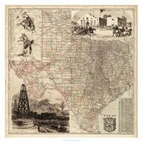 Map of Texas Framed Print