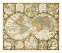 "Antique World Globes - 38"" x 32"", FulcrumGallery.com brand"