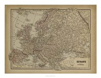 Vintage Map of Europe Fine Art Print