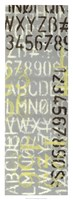"""Numbered Letters I by Jennifer Goldberger - 14"""" x 38"""""""