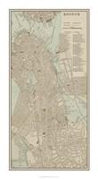 Tinted Map of Boston Fine Art Print