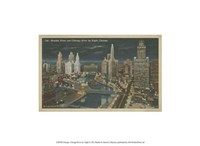 """Chicago- Chicago River by Night - 13"""" x 10"""""""