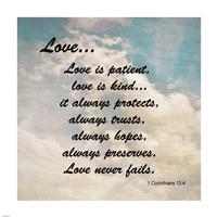 Love 1 Corinthians 13:4 Against the Sky Framed Print