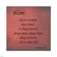 Love 1 Corinthians 13:4 - various sizes, FulcrumGallery.com brand