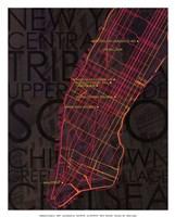 "Neon Map II by David Fischer - 12"" x 15"""