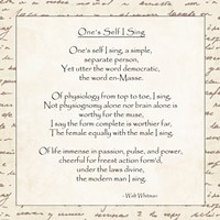 One's Self I Sing by Walt Whitman - various sizes
