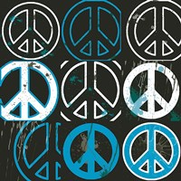 Peace Mantra (blue) Fine Art Print