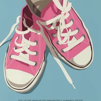 Lowtops (pink on blue) Fine Art Print