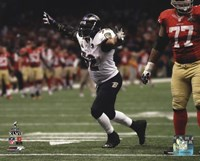Ray Lewis Celebrates the final play of his NFL career Super Bowl XLVII Fine Art Print